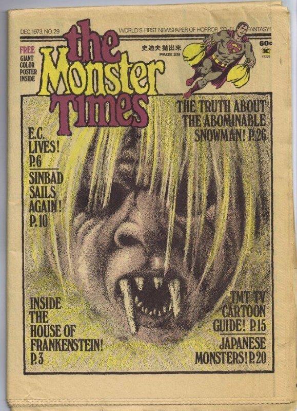 ORIGINAL Vintage 1973 The Monster Times Horror Newspaper Magazine #29