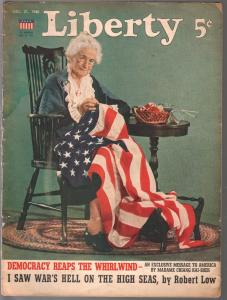 Liberty 12/21/1940-American flag cover-Fu Manchu & Panama Canal-Sax Rohmer-FR/G