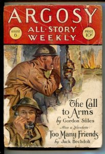 Argosy All-Story Weekly 8/6/1927-A Call To Arms war story by Gordon Stiles-...