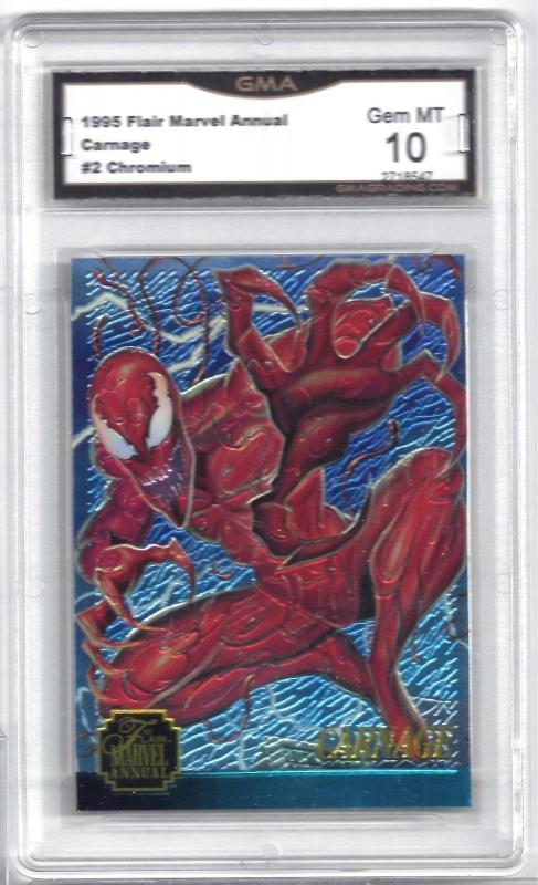 1995 Flair Marvel Annual Carnage #2 Chromium Card - Graded Gem Mint 10