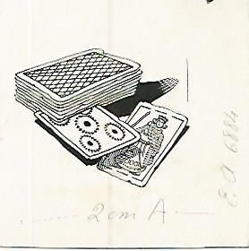 DIBUJO 3649: JUEGO DE CARTAS. Boceto en tinta negra