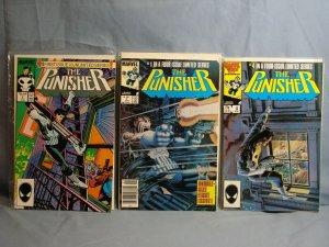 THREE 1980s PUNISHER COMIC BOOKS MARVEL 1987 #1 1985 LIMTED SERIES #1 & 4 RARE!!