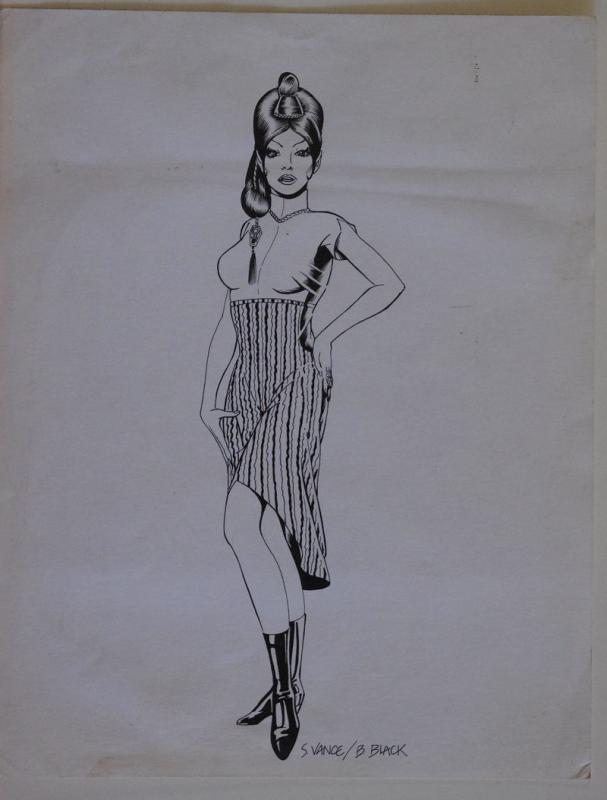 S VANCE /  BILL BLACK original art, Vulcan, Spock, Fiance T'-Pring, Signed, 11x1