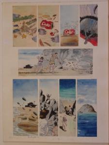 BO HAMPTON original art, COKE, Island, Colored, 12x16, Signed,2010,more in store