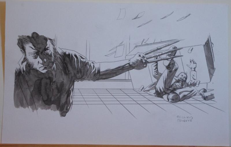 RICHARD ISANOVE original art, SAVAGE WOLVERINE #16, Signed, 11x17, Fight, Claws