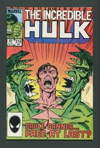 Incredible Hulk #315 / 9.2 NM-  January 1986