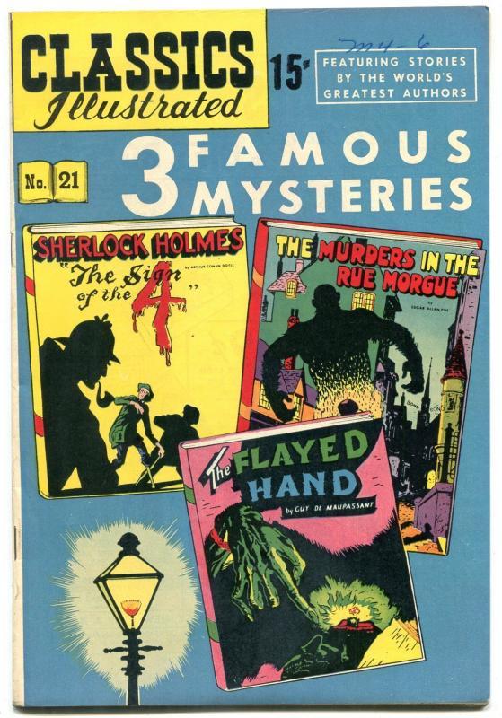 Classics Illustrated #21 HRN 70- 3 Famous Mysteries- Sherlock Holmes VF/NM
