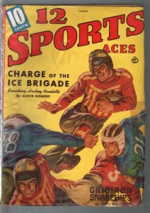 12 Sports Aces  1/1941-pulp fiction-hockey-boxing-football-VG
