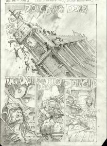 SIMON BISLEY original art, THE DEAD #2 pg 1, Zombies, Church, Decap, 11x16