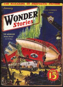 WONDER STORIES 1933 JAN-SCI FI PULP-AMAZING COVER G