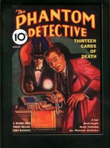 PHANTOM DETECTIVE AUG 1933 PULP REPRINT-13 CARDS OF DEATH-ADVENTURE HOUSE VF/NM
