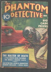 Phantom Detective 3/1938-Belarski cover shows man use Tommy Gun to shoot man ...