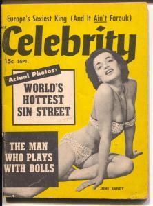 Celebrity 9/1954-exploitation-mini mag-cheesecake-Errol Flynn-Peggy Castle-VG