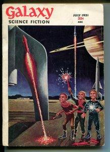 Galaxy Science Fiction 7/1951-sci-fi pulp-MacDonald-fireworks-Fritz Leiber-FN