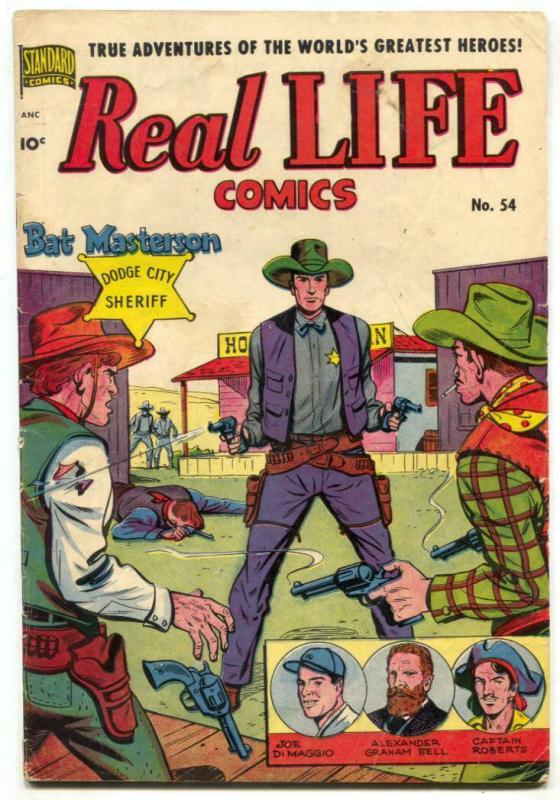 Real Life #54 1950- Schomburg cover- Bat Masterson- Trip to Mars VG