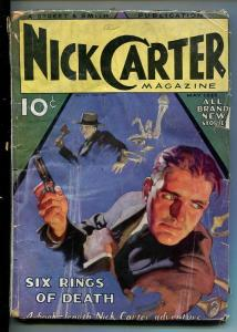 NICK CARTER-#3 MAY-1933-DETECTIVE PULP FICTION-SIX RINGS OF DEATH-good minus