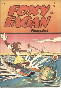 FOXY FAGAN #7 1948-DEARFIELD PUB-SLAPSTICK HUMOR-WATER SKI COVER-RARE-BIZARRE