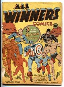 All Winners #1 1941- CAPTAIN AMERICA- Human Torch- Black Marvel- missing centerf