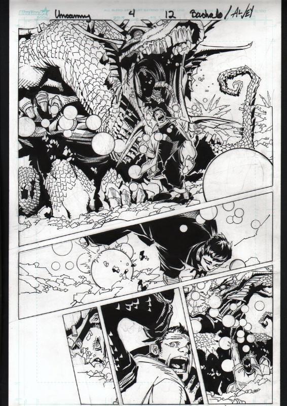 UNCANNY X-MEN #4-ORIGINAL ART-PG 12-CHRIS BACHALO-MARVEL