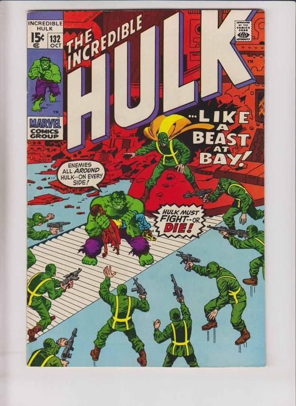 Incredible Hulk #132 FN/VF hydra - 2nd jim wilson - roy thomas  herb trimpe 1970