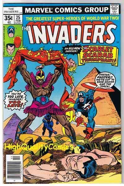 INVADERS #25 VF, ,Captain America, Sub-Mariner, Torch, 1975, more in store