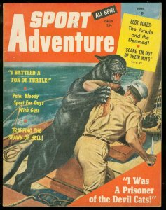 SPORT ADVENTURE #1 JUNE 1957-WILD PANTHER ATTACK COVER VF