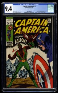Captain America #117 CGC NM 9.4 White Pages 1st Falcon!