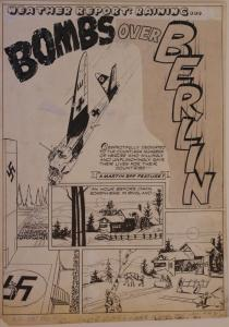BOB POWELL original art, ALL NEW COMICS #4 pg 1, 1943, Bombs over Berlin, WWII