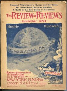 Review of Reviews 12/1893-American edition-Albert Shaw-pulp format-VG