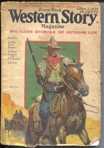 Western Story 4/2/1927-stage coach guard cover-pulp fiction-Clem Yore-G