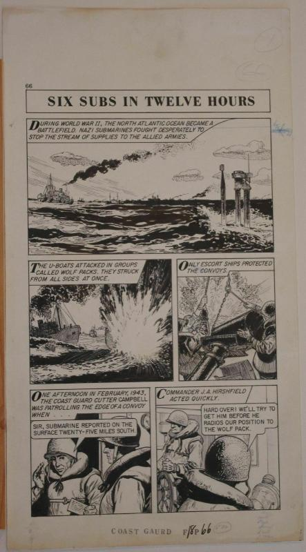 Original art, WORLD AROUND US #12 pg 66, 12x 23, 1959, Coast Guard, War, U-Boats