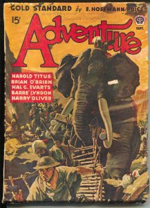 Adventure  9/1942-elephant attack cover-WWII era pulp fiction-Harold Titus-VG