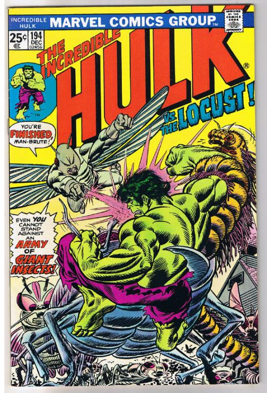 HULK #194, VF, Incredible, Bruce Banner, vs Locust, 1968, more in store