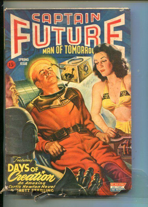 CAPTAIN FUTURE-SPRING 1944-PULP-SCI-FI SUPER HERO-BRETT STERLING-vg