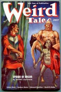 Weird Tales Pulp July 1938- Virgil Finlay horror cover- Spawn of Dagon VF-