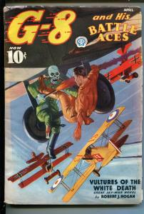 G-8 AND HIS BATTLE ACES 4/1937-WWI-SKELETON-GERMANS-BI-PLANES-vg