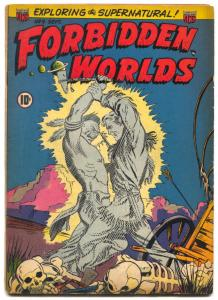Forbidden Worlds #9 1952- skull cover- BRIDE OF SWAMP MONSTER VG+