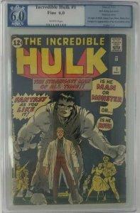 The Incredible Hulk #1 ~ 1962 Marvel ~ PGX 6.0 (FN); Origin of the Hulk