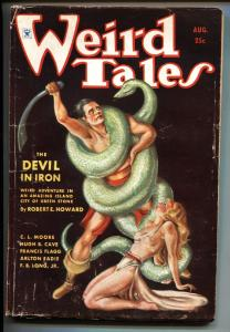 Weird Tales 8/1934-pulp fiction-Conan battles snake on cover