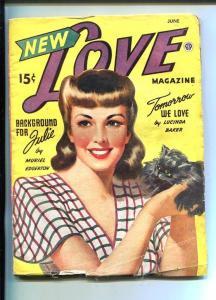 NEW LOVE-JUNE 1945-ROMANTIC PULP FICTION-PIN-UP GIRL KITTEN  COVER-vg