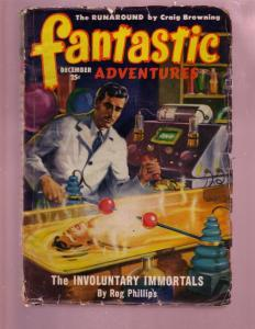 FANTASTIC ADVENTURES-DEC 1949-FEMALE TORTURE COVER-PULP G