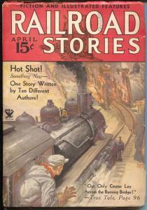 Railroad Stories 4/1934-Munsey-flaming bridge train crash-pulp thrills-FN