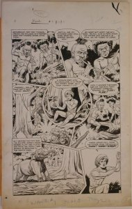 HENRY KIEFER original art, WAMBI JUNGLE BOY #9 pg 3, 14x23, 1950, Pygmie attack