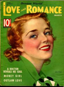 Dream World Love and Romance 3/1936-pin-up girl cover-Gloria Warren-spicy-VG/FN