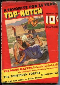 Top-Notch 2/1937-adventue pulp-John Howitt cover-hook hand-gunman-VG