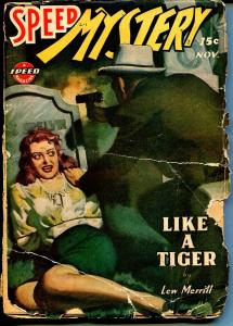 Speed Mystery 11/1943-Trojan-graveyard terror cover-pulp thrills-G-