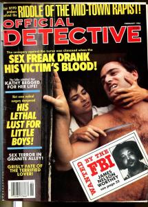 Official Detective 2/1986- double cover-spicy-violent -pulp thrills-VG