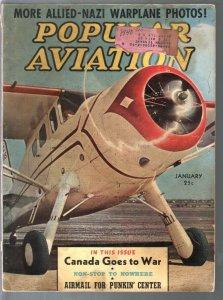 Popular Aviation 1/1940-Allied & Nazi plane pix-Amelia Earhart-Air War-VG