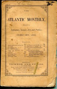 Atlantic Monthly 2/1866-pulp format-unique-rare-150 years old-G
