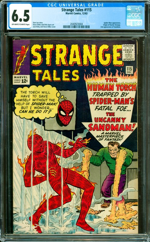 Strange Tales #115 CGC Graded 6.5 Spider-Man appearance. Origin of Doctor Str...